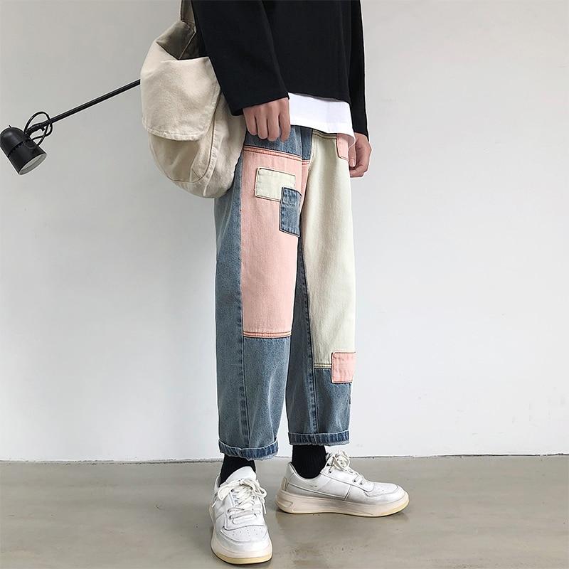 2019 Summer Men's Wide Leg Pants Patch Baggy Homme Casual Pants Cargo Pocket Jeans Biker Denim Blue Color Trousers Size S-2XL 2