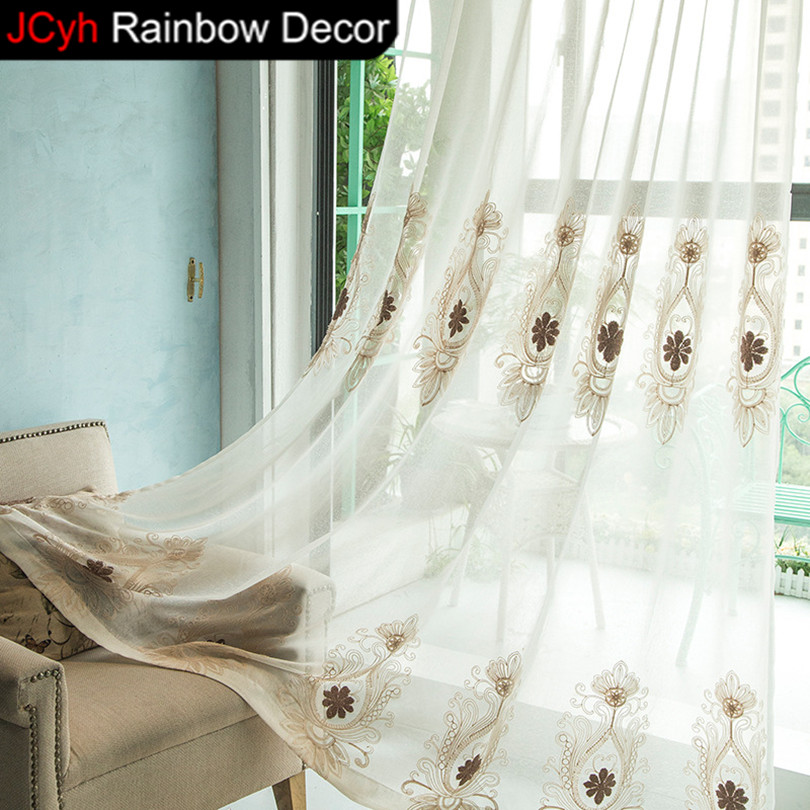 JRD Fine Embroidery Sheer Curtain Flower Tulle Curtains For Living Room Home Decor Bedroon Linen Tulle Curtains Widown Treatment