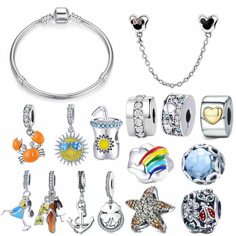 fit Pandora Bracelet Silver 925 Original Sunshine Glasses Drink Cup Crab Starfish Anchor Charms CZ Beetle Clover Beads Bangle