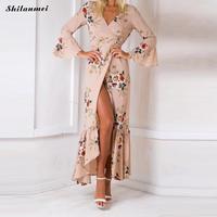 2018 Hot Sale Irregular Long Summer Beach Dress Women Sexy Deep V Printed Floral Chiffon Maxi