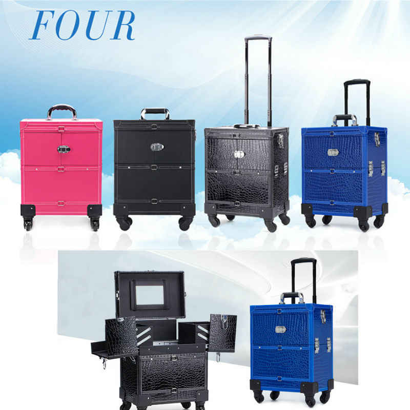 Aluminum Nail Trolley  Luggage Cosmetic Box Professional Makeup trolley Case Wheels for Train 4 Types