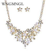 WNGMNGL 2018 Imitation Pearls Bridal Jewelry Sets for Women Gold Silver Color Flower Rhinestone Necklace Earring Sets Wedding feelgood individuality vintage silver color jewellery exquisite enamel small flower and imitation pearl jewelry sets for women