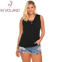 IN VOLAND Women Tank Tops Oversized Fashion Sleeveless Camisole Solid Loose Front Lace Up Fitness Female