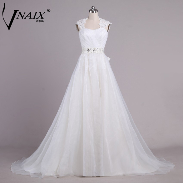 4fc99a10bb W1192 Elegant Cap Sleeve with Pleat Beading and Bow A Line Orgamza White Wedding  Dresses Bridal Gown Vestido De Novia Customized
