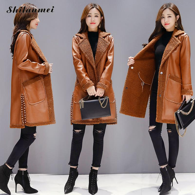 2018 Winter Women   Suede     Leather   Jacket Female Long Lamb Wool Motorcycle Coat Reversible Thick Lambs Wool Warm Zip Coat Outerwear