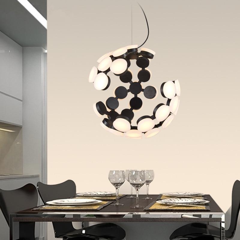 modern brief fashion led acryl iron creative dot half round shape pendent lamp for dining room living room bar AC85-265v A336 цена и фото