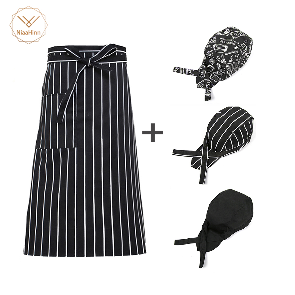 Adjustable Half Chef Apron Restaurant Kitchen ApronBody Male Apron Striped Hotel Chef Waiter Short Kitchen Cooking Apron +hat