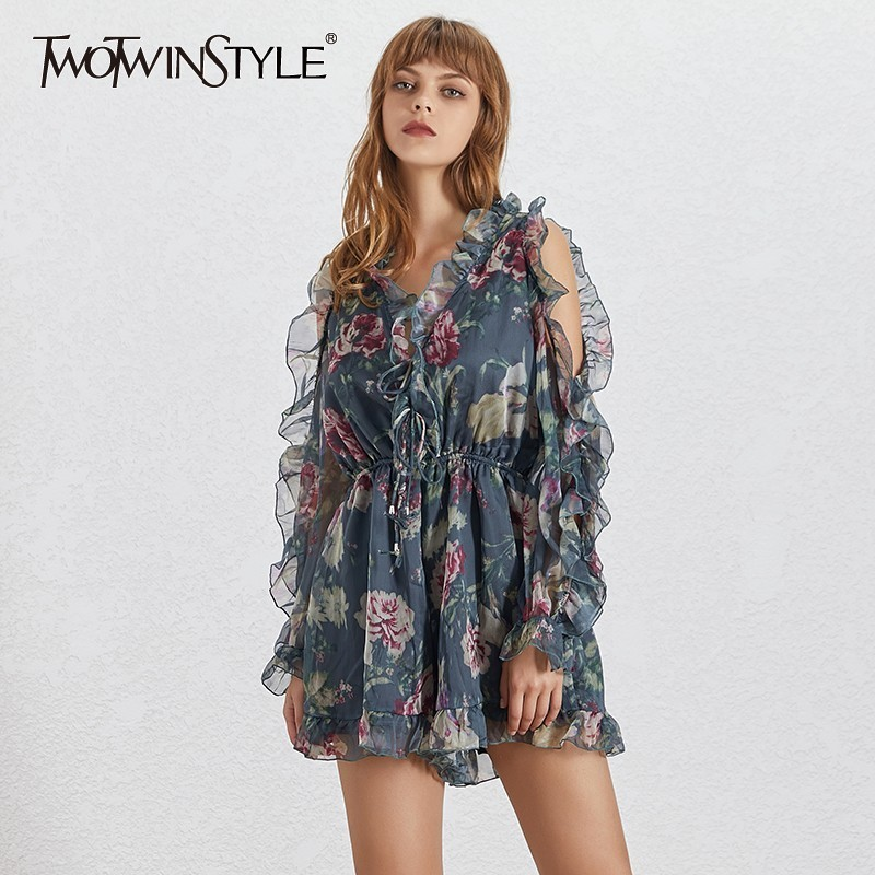 TWOTWINSTYLE Summer Print Women's Playsuits V Neck Flare Sleeve Off Shoulder High Waist Slim Lace Up Playsuit Female Fashion New