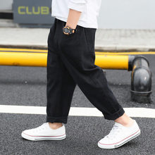 2019 Teens Spring Autumn Loose Cotton Pants Boy Simple Child Casual Trousers Children Clothing Elastic Waist  Kids