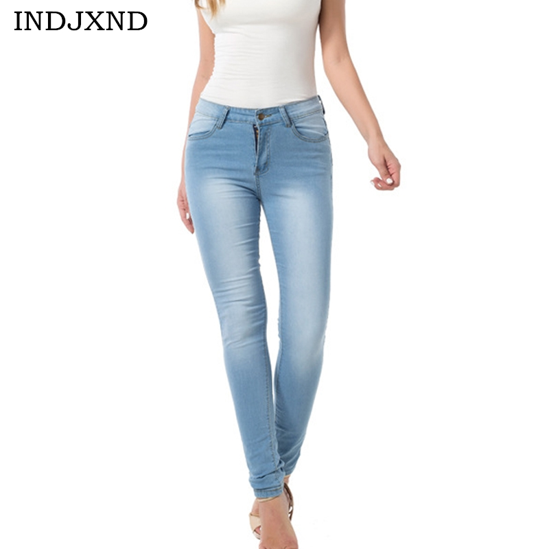INDJXND Plus Size Fashion Elastic Cowboy Pencil Pants Women High Waist Jeans 2017 Leggings Sexy Skinny Blue Denim Long Trousers 4xl plus size high waist elastic jeans thin skinny pencil pants sexy slim hip denim pants for women euramerican
