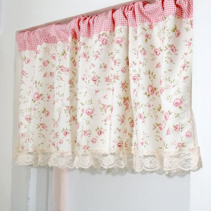 Gentil Short Curtains Valance Pelmet Printed Pink Floral Kitchen Curtains For  Living Room Window Blinds Bedroom Door Window Treatments In Curtains From  Home ...