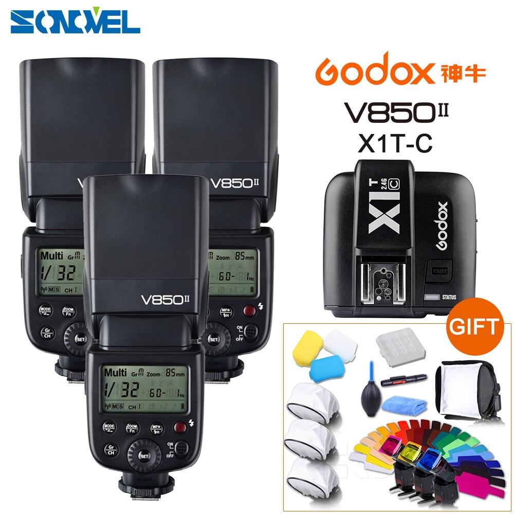 ¡DHL gratis! 3x Godox V850II GN60 HSS 2,4G inalámbrico X sistema de Flash Speedlite Li-Ion batería + X1T-C transmisor para cámaras Canon