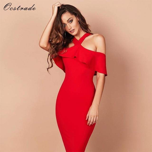 82474d4d900c Ocstrade 2017 Women s New Elegant Off Shoulder Dress Bodycon Party Red  Ruffles Halter Neck Sexy White Bandage Dresses for Women
