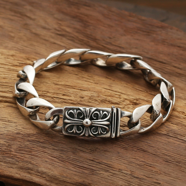 Wholesale silver jewelry S925 star with a Korean boy and Taiyin personality retro Crusades Flower Bracelet