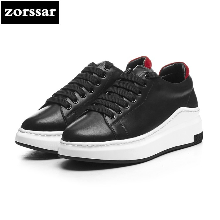 {Zorssar} 2018 New Genuine Cow Leather Flats platform Women shoes Casual flat shoes Female sneakers shoes Leisure Student Shoes instantarts women flats emoji face smile pattern summer air mesh beach flat shoes for youth girls mujer casual light sneakers