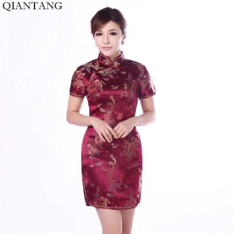 Yüksək keyfiyyətli Burgundy Çin Qadın Satin Qipao Mini Cheongsam - Qadın geyimi - Fotoqrafiya 6