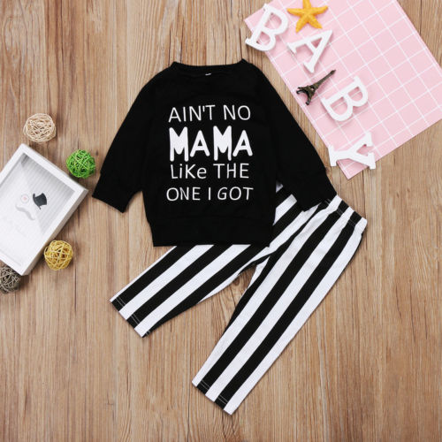 Toddle Kid Baby Girls Long Sleeve Tops Striped Pants Leggings Clothes Outfit Set
