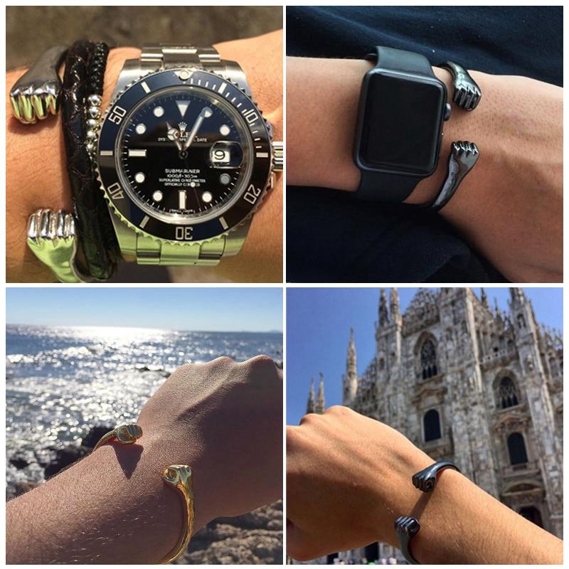 Mcllroy pulseira aberta de titânio, bracelete de