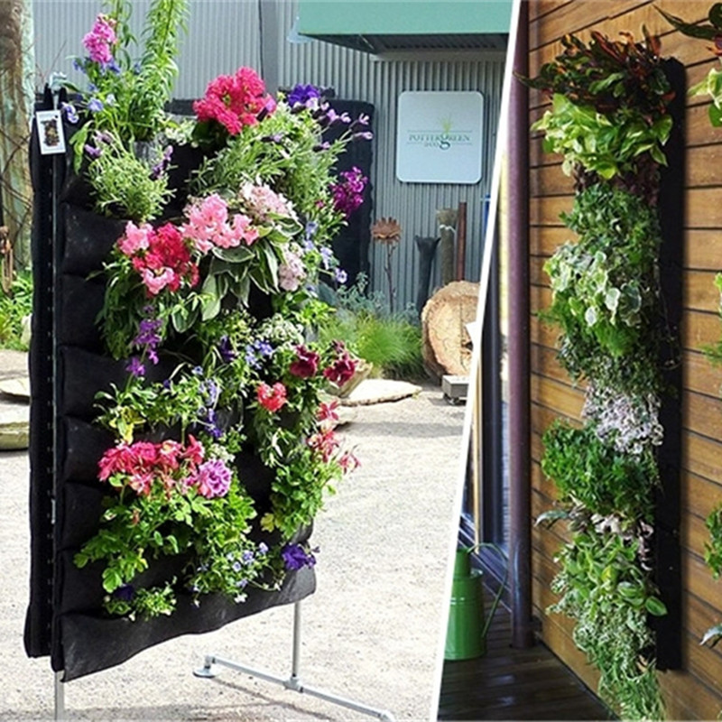 High Quality Large 4 Pockets Hanging Flower Pot Polyester Wall Mounted Vertical  Gardening Flower Pot Planting Bag Living Indoor Wall Planter