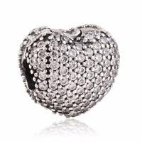 Adapte pandora bracelets Pave coeur ouvert avec Cz clip charme S925 Sterling Argent bijoux diy faisant charmes de Valentine gros