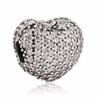 Fits pandora bracelets Pave open heart with Cz clip charm S925 Sterling Silver jewelry diy making charms Valentine's wholesale