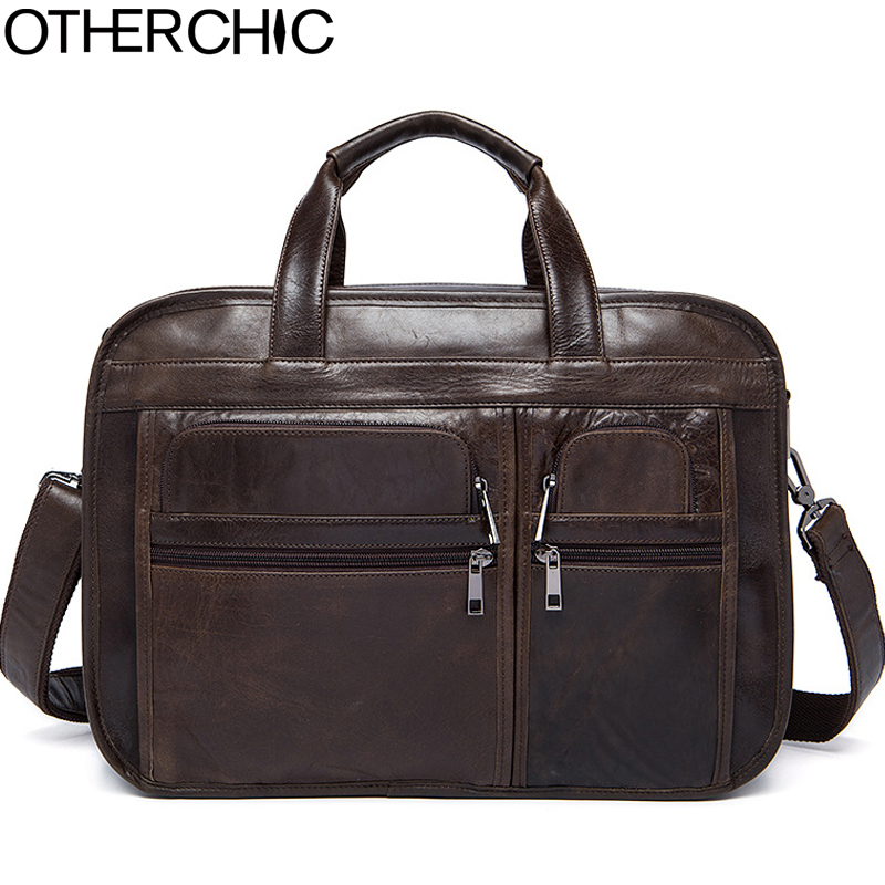 OTHERCHIC 3 Layers Spacious Portfolios Briefcase Genuine Leather Business Bag Vintage Men Messenger Bags Lawyer Handbags 7N06-32 цена и фото