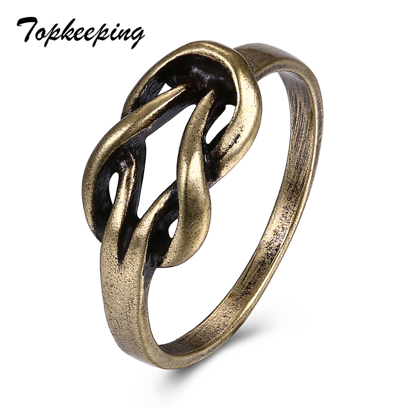 Women Fashion Jewelry Bronze Color Retro Ring Hollow Cross Knotting Shape Chic Finger Ring Anniversary Gifts Vintage Girls Rings