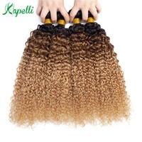 Mongolian Kinky Curly Human Hair Bundles Ombre Hair Extension 1b/30/27 Dark Root Blonde Remy Human Hair Weave 3/4 Bundles
