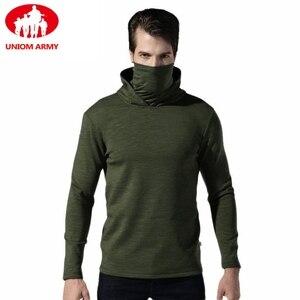 Image 1 - Мужская тактическая флисовая однотонная толстовка с капюшоном, мужская маска хомут Slipknot, черный пуловер с высоким воротником, ветровка