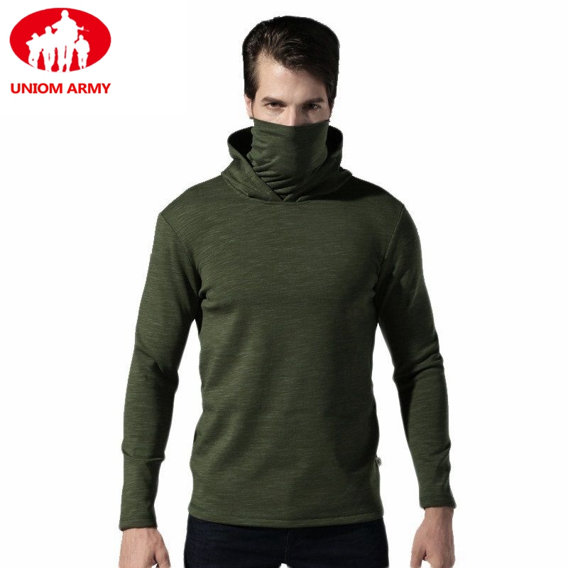 Mens Tactical Fleece Army Hoodies Military Hooded Scarface Sweatshirt Male Slipknot Mask Turtleneck Pullover Windbreaker Black