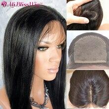 4*4 perucas de cabelo humano liso brasileiro remy parting invisível linha de cabelo natural de seda com base frontal de renda