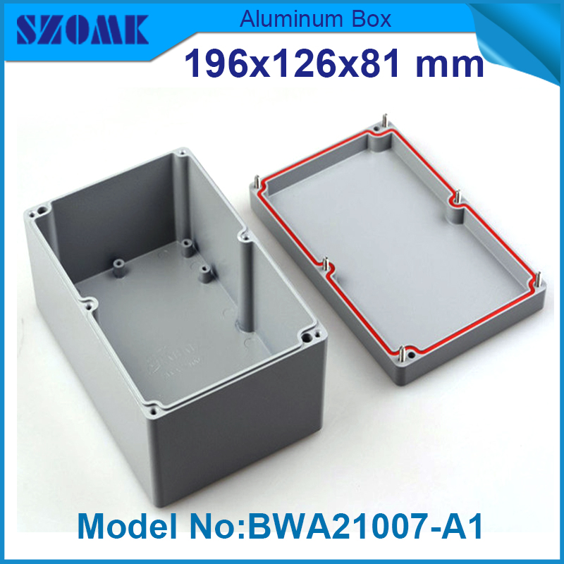 10 pieces enclosure waterproof customizeable aluminium waterproof outlet box 81(H)x126(W)x196(L) mm 1 piece free shipping powder coating aluminium junction housing box for waterproof router case 81 h x126 w x196 l mm