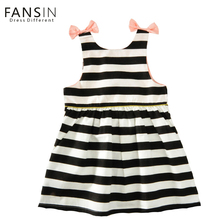 Fansin Baby Dress Sleeveless Striped Summer Girl Dress Backless Bowknot Princess Dresses Toddler Children Party Costume