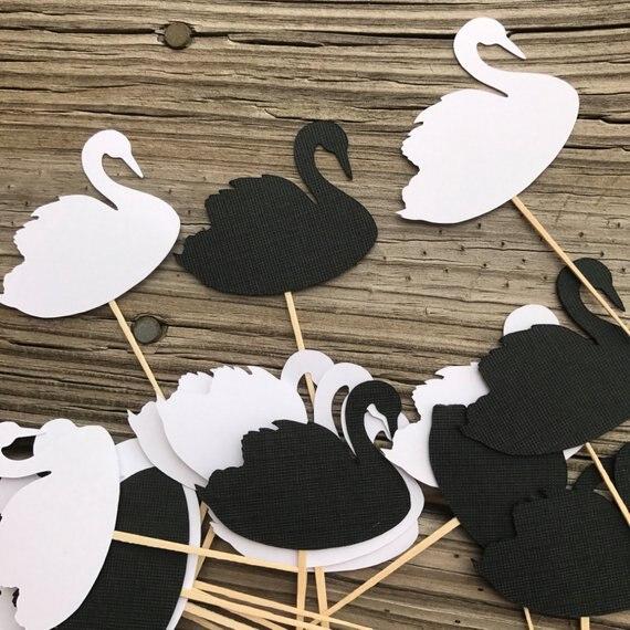 black white swan princess birthday cupcake toppers baby shower doughnut toothpicks wedding party