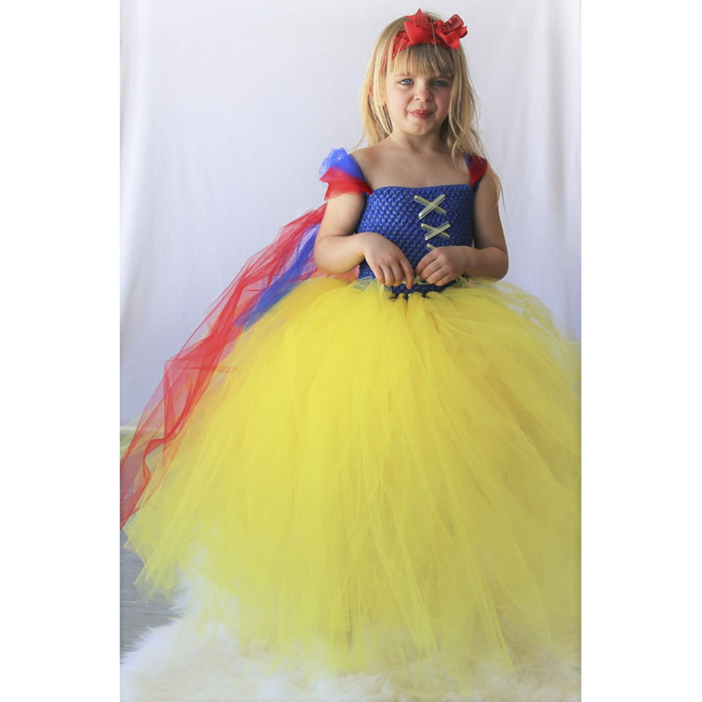ФОТО Snow white Girls dress  Yellow Red Blue Princess  Handcrafted Fashion Handmade Baby Girls Tutu dress Fancy Yellow Tutu PT295