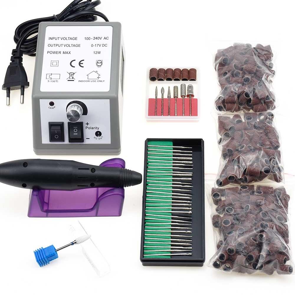 Profesional eléctrica uñas máquina de perforación manicura máquina 20000 rpm de archivo de Arte de uñas taladro 300 piezas de lijado