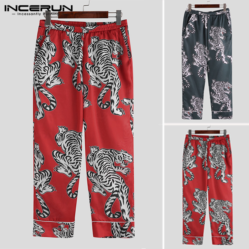 INCERUN 2019 Silk Satin Printing Leisure Men Sleep Bottoms Pants Sleepwear Comfortable Pajamas Retro Men Lounge Pants Plus Size