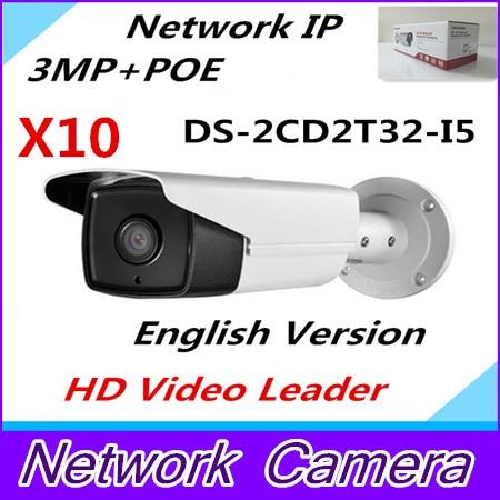 Wholesale Newest English Version IP Camera 3.0 megapixel V5.3.3 Multi Language IP Camera POE CCTV Camera IR DS-2CD2T32-I5 wholesale new english version ip camera full hd 1080p multi language cctv camera poe ds 2cd2t42wd i3 wdr 30m ir ip camera onvif