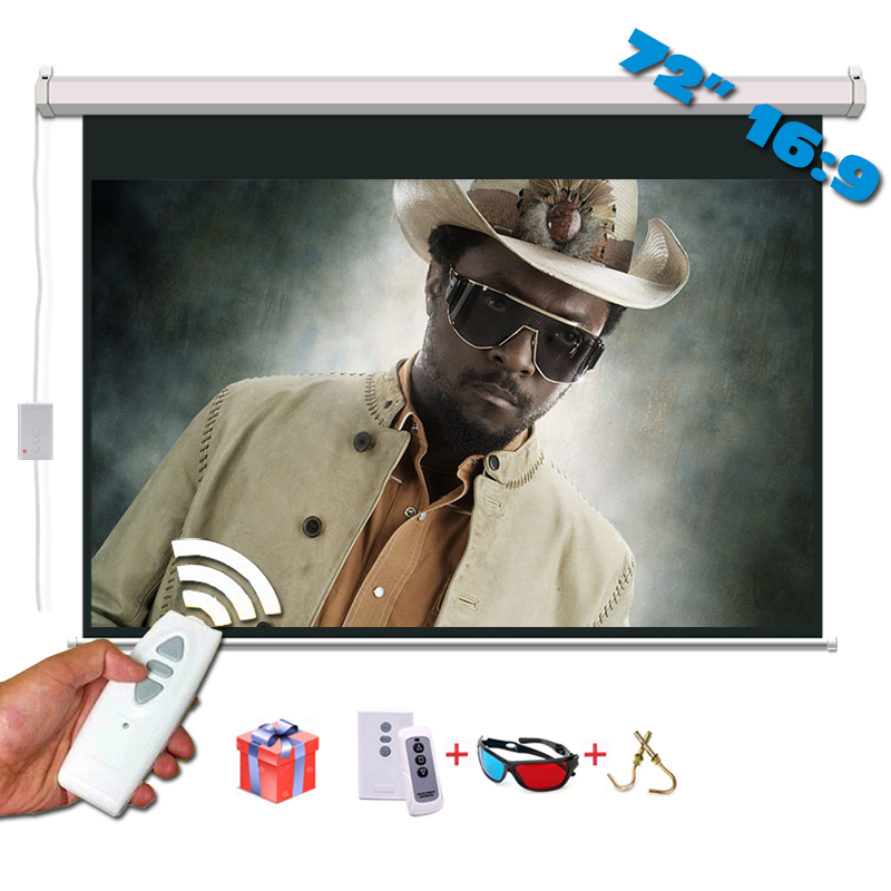 72 inci 16: 9 Skrin Unjuran Elektrik Matt White pantalla proyeccion untuk LED LCD HD Movie Projector Motorized Screen