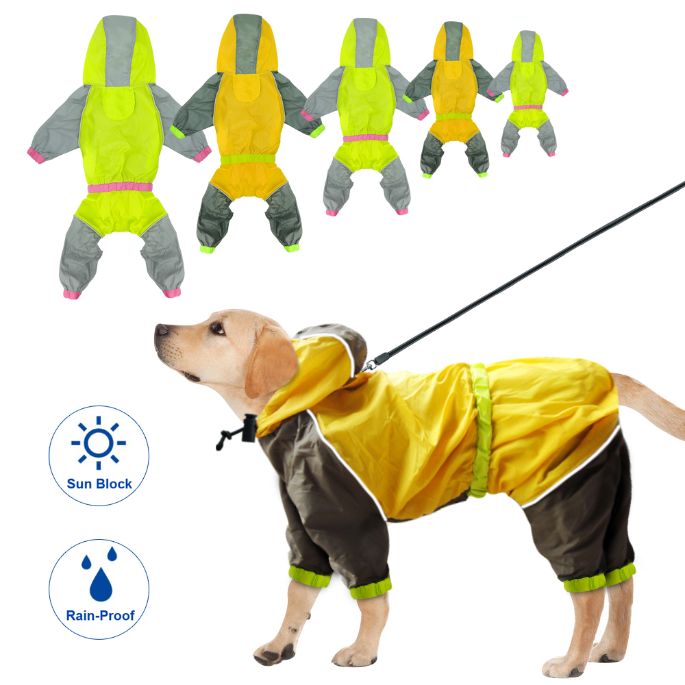 Waterproof Dog Raincoat Reflective Dogs Rain Jacket Safety Rainwear Dog Jumpsuits Poncho Clothes For Small Medium Large Pet Dogs