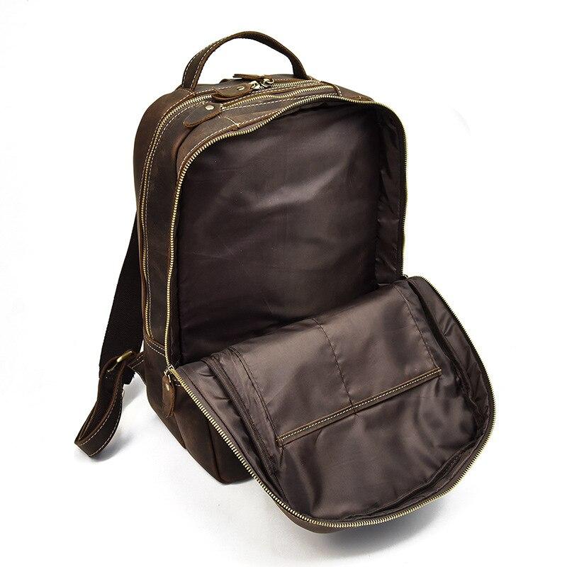 Мужской рюкзак прочный Crazy Horse кожа мужские сумки на плечо верхний слой кожа Повседневная Большая емкость Мужской рюкзак для ноутбука - 4
