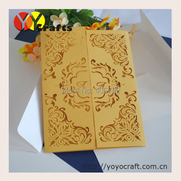 europe wedding invitations new design party favors golden laser cut