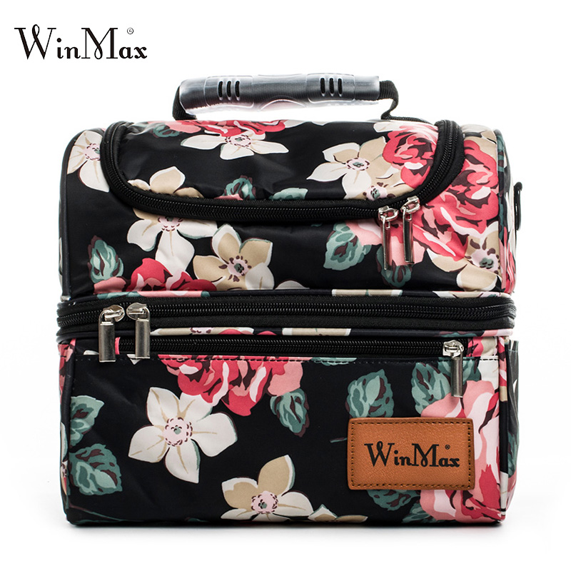 Double Decker Cooler Lunch Bags Large Picnic Travel Storage Keep Fresh Thermal Insulated Bag Lunchbox Tote Handbag For Women Men