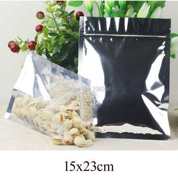 15x23cm(5.91''x9.06'') 200PCS Aluminizing Foil Ziplock Plastic bag Clear Silver Metallic aluminum Resealable plastic pouch