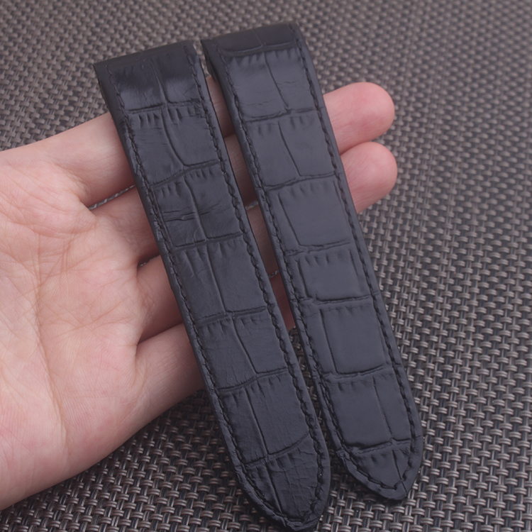 20 23mm Black Genuine Calf Leather Strap Watch Band for Cartier Santos 100