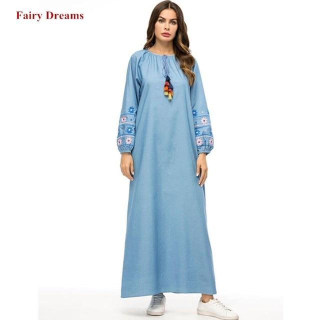 US $27.03 49% OFF|Muslim Denim Maxi Dress Abayas For Women Plus Size  Clothing Dubai Tassel Flowers Embroidery Turkey Turkish Kaftan Islamic  Robe-in ...