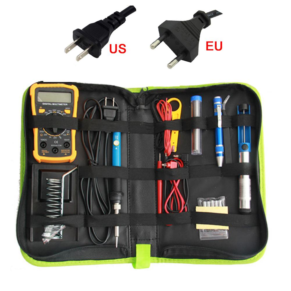 Yellow Multimeter With Electric Soldering Iron Set Kit Digital Display Multimeter Combination Tool Set 60W Adjustable Temperatur