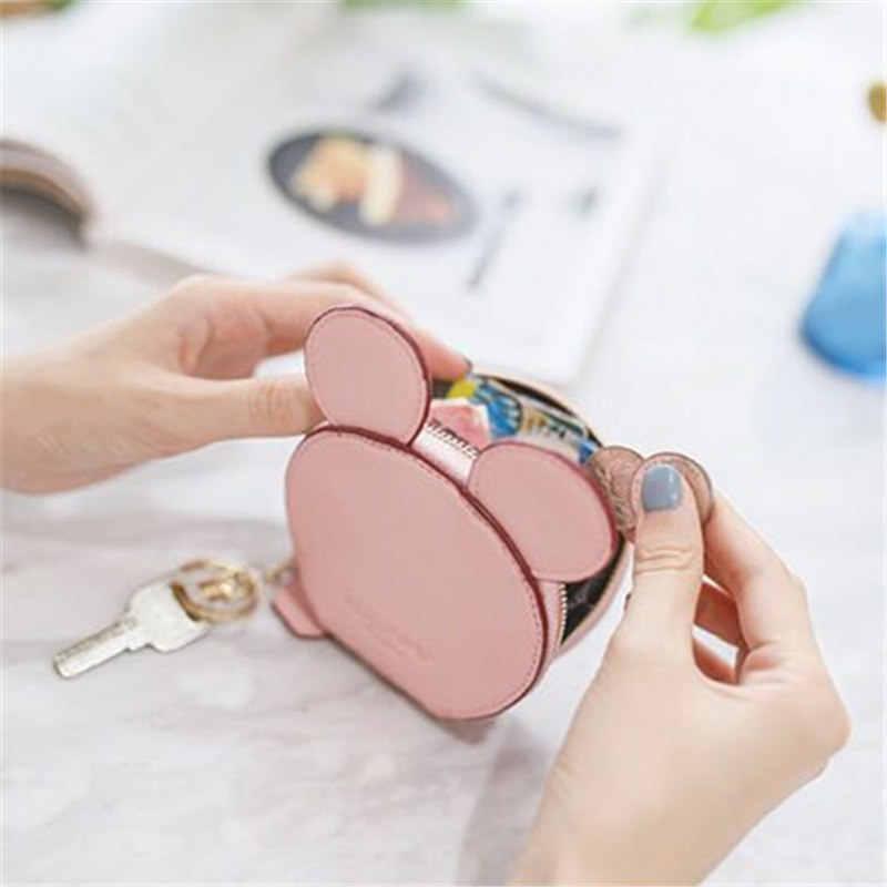 Venta de nuevo diseño mickey head billeteras carteras de mujer pequeñas lindas caricaturas kawaii tarjetero llavero bolsas de dinero para niñas camiseta