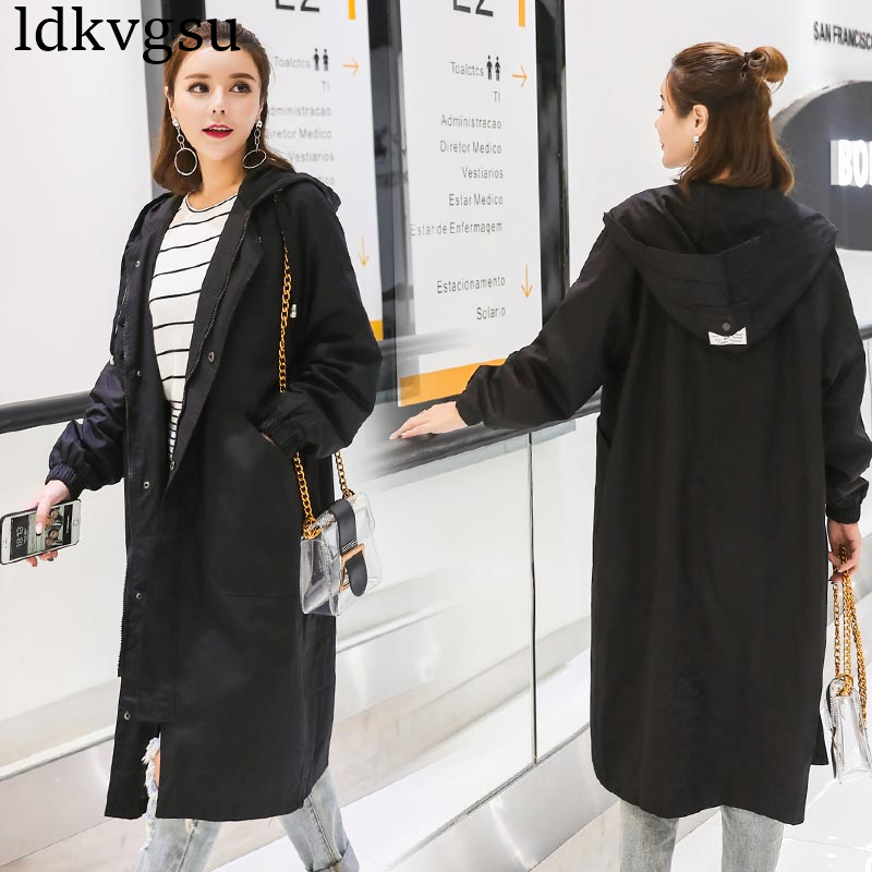 2019 Spring Autumn New Large Size Women's Long   Trench   Coat Korean College Wind Loose BF Hooded Windbreaker Female Overcoats A462
