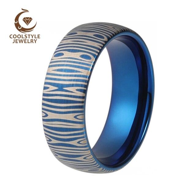 231810df34d7 8mm acero patrón Damasco grabado láser moda carburo de tungsteno azul  anillo para hombres mujeres cúpula